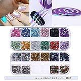 NICOLE DIARY 3D Kits de accesorios de arte para uñas Piedras preciosas Piedras de rayas Línea de cinta Pegatinas de uñas con recogedor de cera Dot Pen Herramienta de arte de uñas