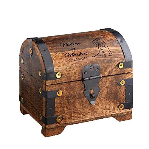 Geld – Schatztruhe zur Hochzeit mit individueller Gravur – [WUNSCHNAMEN] und [DATUM] und [MOTIV] – Bauernkasse – Schatztruhe – Schmuckkästchen – Spardose – Aufbewahrungsbox aus Holz – L 14 cm x B 11 cm x H 13 cm ( Farbe Dunkel)