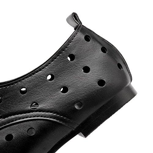 VogueZone009 Femme Couleur Unie Pu Cuir Non Talon Rond Lacet Chaussures à Plat Noir