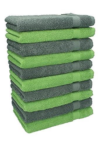Betz 10er Pack Gästehandtücher Set Gästetuch 100% Baumwolle Größe 30x50 cm Handtuch Premium Farbe Apfel Grün & Anthrazit