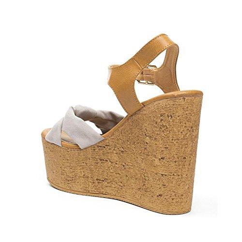 Ideal Shoes - Sandales compensées bi-matière et colorées Lauren Gris