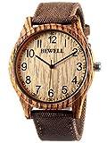 Alienwork Armbanduhr Herren Damen Uhr Canvas Armband Lederarmband Lederband braun Quarz Herrenuhr Damenuhr gelb Holzuhr Natur-Holz
