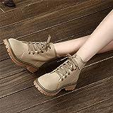 HOESCZS Stiefel Martin Stiefel Damen Stiefeletten Mode Retro Student Mode Wild Freizeitschuhe Schuhe Frauen Stiefel, Camel Verdickung, 35