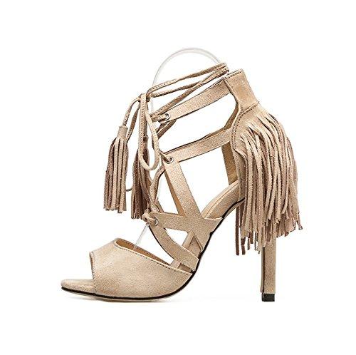 KHSKX-Albicocca 8.5Cm Scarpe Scarpe Di Cuoio Con Un Piede Ad Anello Frangiato Cinghia Sandali Con Belle Scarpe Col Tacco Alto In Estate Camoscio,36 Thirty-six
