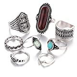#7: Shining Diva Fashion Oxidised Silver Set of 8 Midi Finger Rings for Women and Girls
