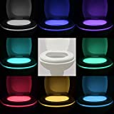 KINGSO LED Toilet Bowl Light Motion Activated LED Toilet light Sensor Bathroom Night light 8 Colors(classic 2 is Fulfilled by Amazon)