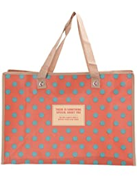 Obvio Peach Bag With Blue Polka Printed Light Weight Boxy And Very Spacious Shopping / Market Bag Multipurpose