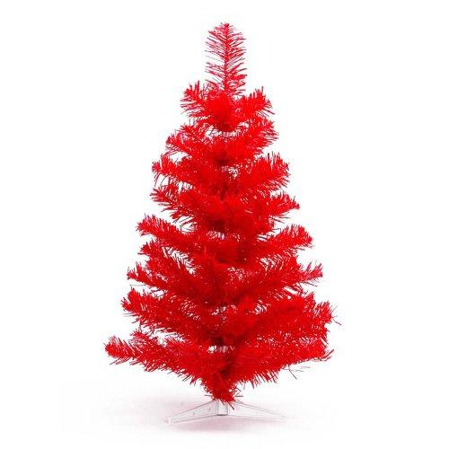 HAB & GUT (XM113) Albero di Natale artificiale / abete colorato rosso - Altezza: 90 cm