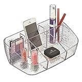 mDesign organizador de cosméticos para maquillaje - organizador de maquillaje para cosméticos y con espacio para móviles o smartphones - caja organizadora para el lavabo - transparente