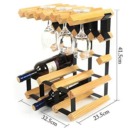 Arbeitsplatte Weinflasche Glasregal Freistehende Holzregal Dekor Dekor 6 Flasche 6 Glas, Volle...