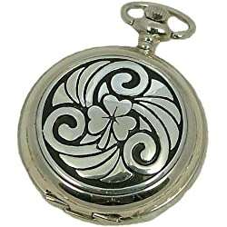 A E Williams 4814SK Celtic Shamrock mens mechanical pocket watch with chain