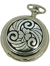 A E Williams 4814 Celtic Shamrock mens quartz pocket watch with chain