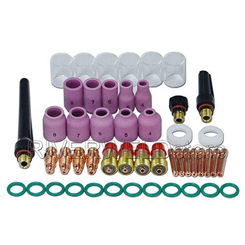 WIG Stubby Gas Objektiv Kits # 10 Pyrex Cup Keramikdüse Kit DB SR WP 17 18 26 WIG Schweißbrenner 49St - Schweißen Gas-objektiv