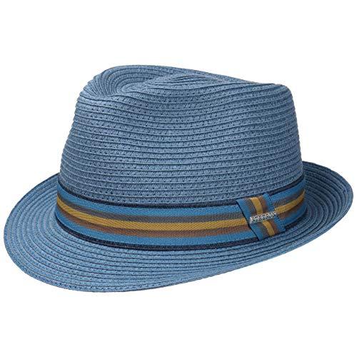 Stetson Munster Toyo Trilby Hut Damen Herren   Hut mit schickem Ripsband   Strohhut mit UV-Schutz 40   Sonnenhut mit Kontrastnähten   Sommerhut Frühjahr/Sommer   Fedora-Variante blau M (56-57 cm)