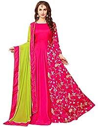 Greenvilla Designs Pink Silk Semi-Stitched Anarkali Suit