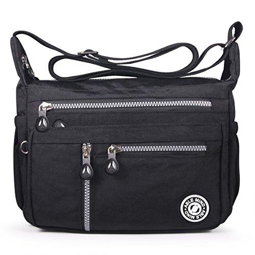 ABLE Waterproof Shoulder Bag Casual Handbag Messenger Crossbody Bags Multi-functional pocket design: can plug flat, book, wallet, etc (4-black)