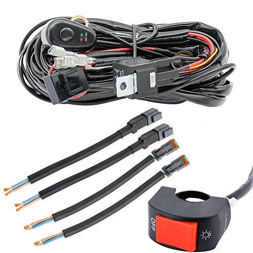 Quad-licht-schalter (Verdrahtung Webstuhl Kabelbaum für LED-Lichtleiste Auto Auto Kopf Licht Draht Schalter Relais Kit)