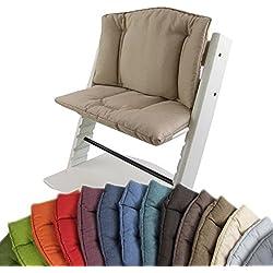 BambiniWelt Cojín de asiento para trona Stokke Tripp trapp * 14colores, jaspeado * 2piezas de asiento, funda para cojín beige beige
