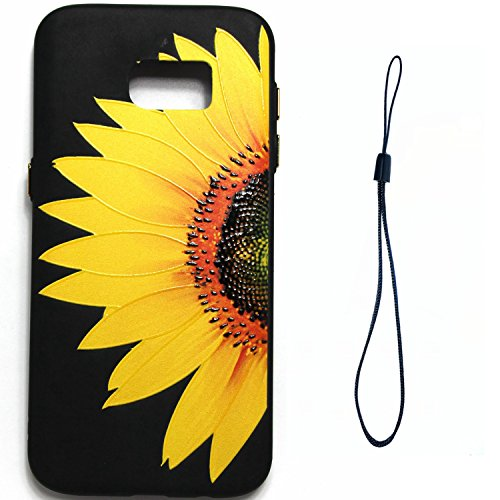 S6 Edge Hülle ,Samsung S6 Edge Shell Case , Galaxy S6 Edge Black Hülle, Cozy Hut® [Liquid Crystal] [Matte Black] [With Lanyard/Strap] Samsung Galaxy S6 Edge Ultra Slim Schutzhülle ,Anti-Scratch Shockp Halbe Sonnenblume