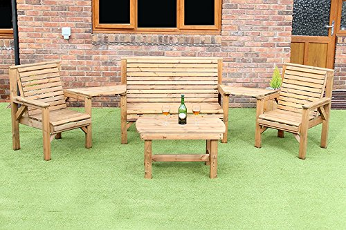 WOODEN GARDEN FURNITURE ANGLED COMPLETE SET COFFEE TABLE 1 BENCH 2 CHAIRS AND 2 DETATCHABLE TRAYS