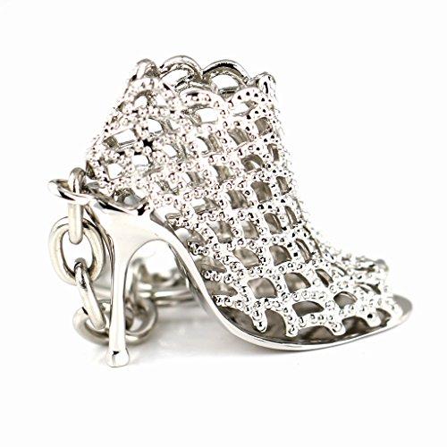Preisvergleich Produktbild Maycom 86113 Schlüsselanhänger mit High-Heel-/Stöckelschuh-Design, hohl, silberfarben, kreatives Mode-Accessoire, Geschenkidee für Damen, silber, S