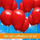 100 rote LUFTBALLONS - Helium geeignet - für bis zu 100 Hochzeitsgäste - Hochzeitsspiele und Hochzeitsbräuche + Gratis Geschenkkarte