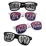 BMC 4 pc Black and White Wedding Party Decal Wayfarer Style Sunglasses