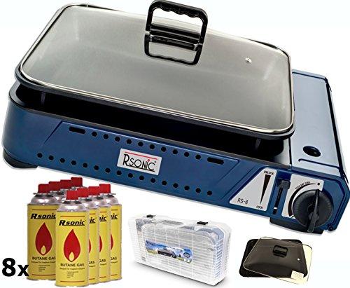 RSonic RS-8 Deluxe tragbarer Gasgrill mit Grillpfanne mit Glasdeckel 2,1 KW inkl. 8X Gaskartuschen -