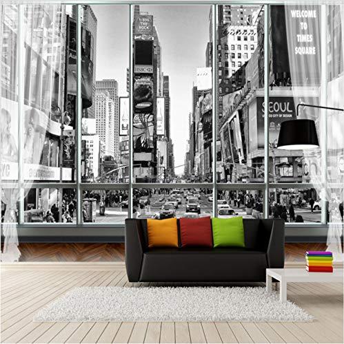 Papiers Peints Personnalisés Photo 3D Photo De Papier Peint Blanc Et Noir sur La Ville De New York-420cm(W) x260cm(H)