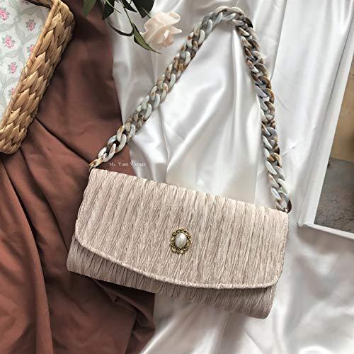 SAOGA Metallperle Dekorative Clutch Acryl Handgemachte Messenger Bag Antike Tasche, Apricot/Muschel Farbe Handheld 60 cm, Lager. - Clutch Bag Apricot