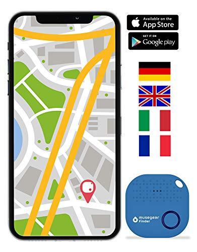 musegear® Schlüsselfinder mit Bluetooth App I Version 2 I Keyfinder laut für Handy in hellblau I GPS Ortung/Kopplung I Schlüssel Finden