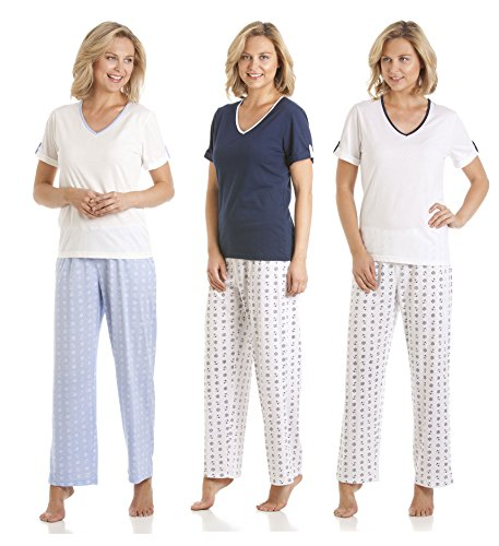 Lot de 3 Design nautique à manches courtes pour femme Col en V pour Pantalons de pyjama pyjama Multicolore - 1 Blue & 1 Pink & 1 Navy