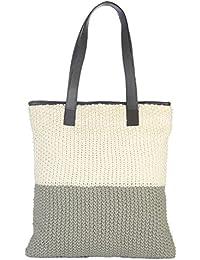 Pluchi Heidi Shopper Bag Ivory Grey With Brown Leather Cotton Shoulder Bag  Hand Bag For Women 7996859785bf0
