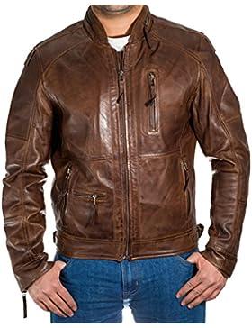 Para hombre de la vendimia suave cera chaqueta de motociclista de cuero con cierre de cremallera Cuello