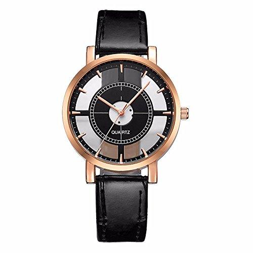 Uhren Damen, HUIHUI Geflochten Armbanduhren Günstige Uhren Wasserdicht Beliebte Casual Persönlichkeit einfache analoge Handgelenk zarte einzigartige hohle Coole Uhren Lederarmband Mädchen Frau Uhr (Schwarz)