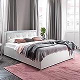 Polsterbett weiss 180x200 Kunst-Lederbett Steine Bett Doppelbett Mainz-1