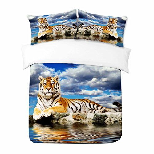 Adam Home 3D Digital Printing Bett Leinen Bettwäsche-Set Bettbezug + 2x Kissenbezug - Beautiful Tiger Sitting On The Side Of The Water (Alle Größen)