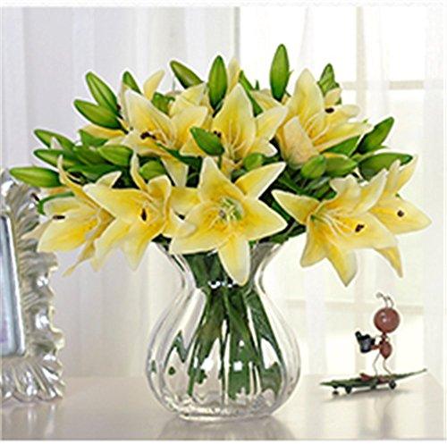 SUNNIOR 1 Bunch 3 Head giglio bianco Profumo Bouquet da sposa fiore artificiale / Graves / Vases,Giallo(5Pcs)