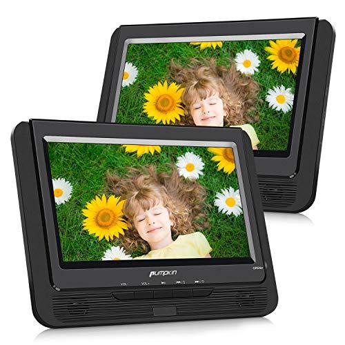 Pumpkin Lettore dvd portatile auto bambini poggiatesta doppio 9\'\' schermo con supporto, circa 5 ore di durata, supporta usb/sd/mmc, regione free