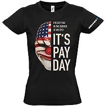 Payday 2 GE1736L - Payday 2 de la Mujer Máscara Dallas Grande Camiseta, Negro (GE1736L)