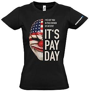 PayDay 2 de la Mujer de la máscara de la camiseta de Dallas (Medium/Negro)