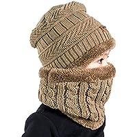 Sunbeter Sombrero de gorrita tejida para niños y conjunto de bufanda circular Sombrero de lana gruesa polarizada de invierno para deportes al aire libre