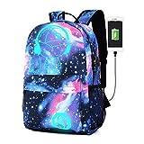 Notte zaino leggero, Unisex personalità graffiti Glow zaino notte luce Bag casual Daypacks con porta di ricarica USB