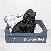 Large Personalised Pet Bed Crate - Colour Slate Grey