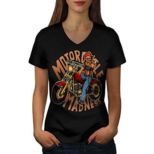 Motorrad Wahnsinn Women S V-Ausschnitt T-Shirt | Wellcoda (Womens Dunklen T-shirt Teufel)