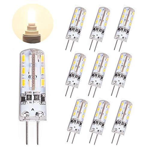 TOSHIN 10er G4 LED Lampe Birne, 1.5W (10W Halogen Äquivalent), DC 12V, 100 LM, 24x SMD3014, 3000K Warmweiß