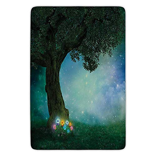Velvet Red Riding Hood (XIAOYI Bathroom Bath Rug Kitchen Floor Mat Carpet,Forest Decor,Fairytale Little Red Riding Hood Forest at Night with Flowers and Stars Image,Multicolor,Flannel Microfiber Non-Slip Soft Absorbent)