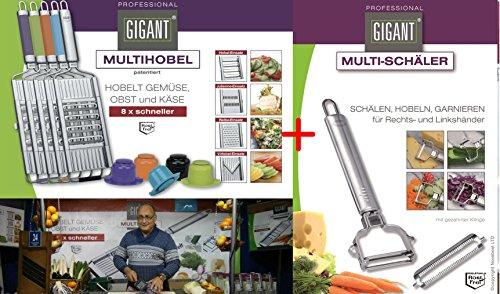 Gigant Multihobel + V-Messer + Edelstahl-Schäler Set (Edelstahl)