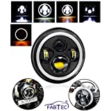 FABTEC LED Head Light for Bullet 7 Inch with Full DRL Ring Headlight for Royal Enfield Bullet/Classic 350/500