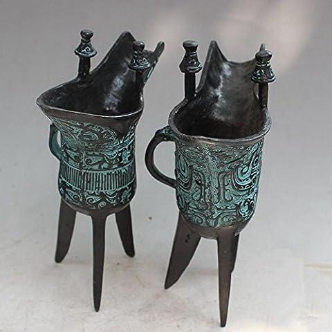 PENG ornements en bronze tasse d'étain antique coupe du triangle père impérial Xin Jue tasse verre antique